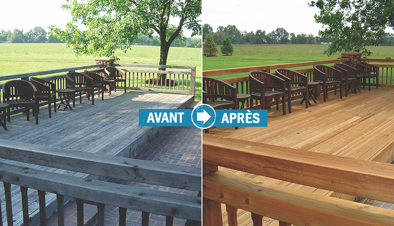 nettoyer un patio en bois